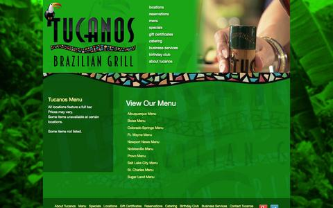 Screenshot of Menu Page tucanos.com - View Our Menu | Tucanos Brazilian Grill - captured Sept. 19, 2014