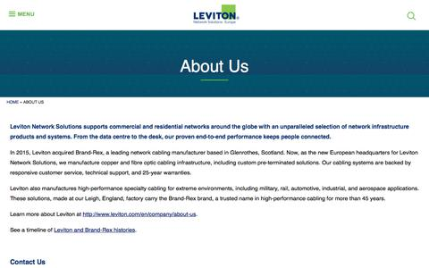 Screenshot of About Page brand-rex.com - About Us | Leviton Network Solutions Europe - captured Aug. 3, 2018