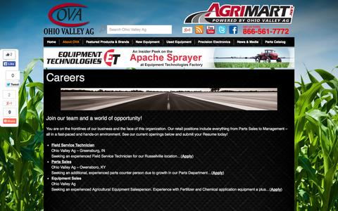 Screenshot of Jobs Page ohiovalleyag.com - Careers | Ohio Valley Ag | Precision Agricultural Spray and Fertilizer Application Equipment Headquarters | Agricultural Machinery | Ag Spray Parts | Self Propelled Sprayers - captured Oct. 7, 2014