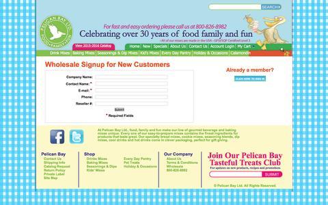 Screenshot of Signup Page pelicanbayltd.com - Pelican Bay LTD signup to become a wholesaler - captured Dec. 8, 2015