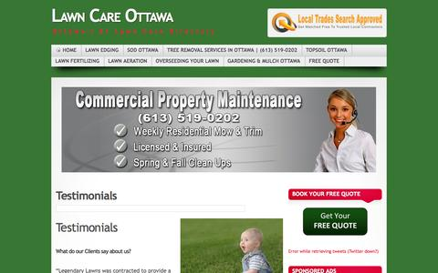 Screenshot of Testimonials Page lawncareottawa.com - Lawn Care Ottawa Testimonials | Lawn Care Ottawa - captured Oct. 2, 2014