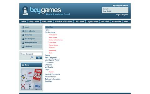 Screenshot of Site Map Page baygames.co.uk - Site Map | Bay Games - captured Oct. 5, 2014
