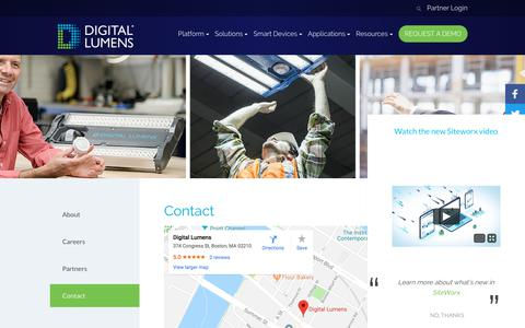 Screenshot of Contact Page digitallumens.com - Contact - Digital Lumens - captured April 26, 2018