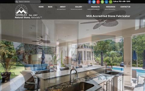 Screenshot of Home Page marblexinc.com - Granite Countertops, Fairfax, VA | Marblex Design Int. - captured Sept. 6, 2015