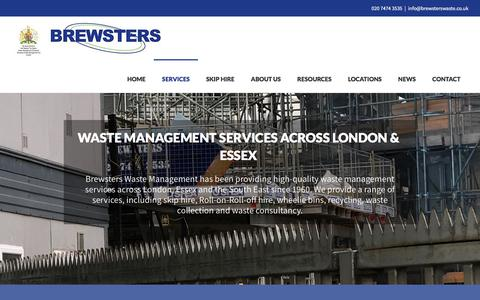 Screenshot of Services Page brewsterswaste.co.uk - Waste management services for the London & Essex areas - captured Oct. 11, 2017