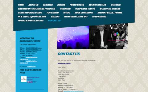 Screenshot of Contact Page wokinghampartypeople.co.uk - Berkshire Events, the very best in local entertainment from DJs to Photo booths and full packages - Contact us - captured Oct. 29, 2014
