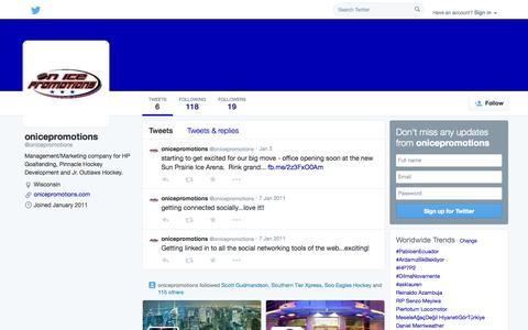 Screenshot of Twitter Page twitter.com - onicepromotions (@onicepromotions) | Twitter - captured Oct. 26, 2014