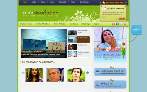 Screenshot of Home Page freemeditation.com - Free meditation | Learn how to meditate and enjoy the benefits! - captured Sept. 24, 2014