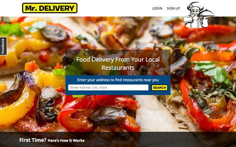 Screenshot of Home Page mrdelivery.com - Food Delivery | Austin Food Delivery | Food Delivery Austin | Restaurant Delivery - captured Aug. 5, 2015