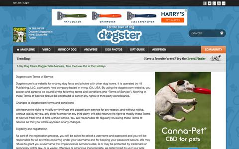 Screenshot of Terms Page dogster.com - Terms of Service - Dogster - captured Dec. 3, 2015