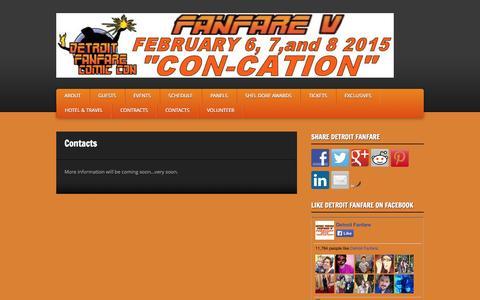 Screenshot of Press Page detroitfanfare.com - Detroit Fanfare V - Con-Cation » Contacts - captured Nov. 3, 2014
