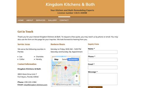 Screenshot of Contact Page kingdom-kitchens.com - Contact - Kingdom Kitchens & Bath in Fort Myers, FL - captured Oct. 15, 2018