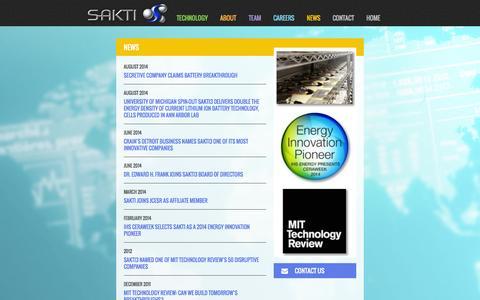 Screenshot of Press Page sakti3.com - News   Sakti - captured Sept. 17, 2014