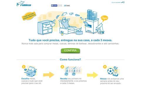 Screenshot of Home Page rabixo.com.br - Rabixo - Cuecas, meias e barbeador por assinatura. - captured Sept. 10, 2014