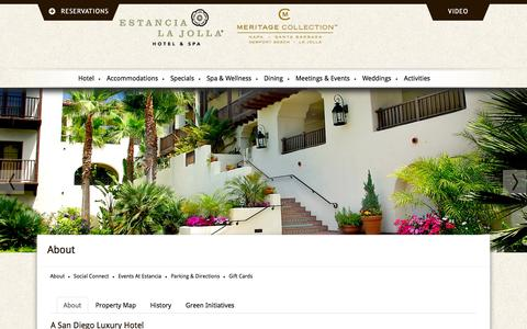 Screenshot of About Page estancialajolla.com - San Diego Luxury Hotels   About Estancia La Jolla Hotel And Spa - captured Sept. 24, 2014