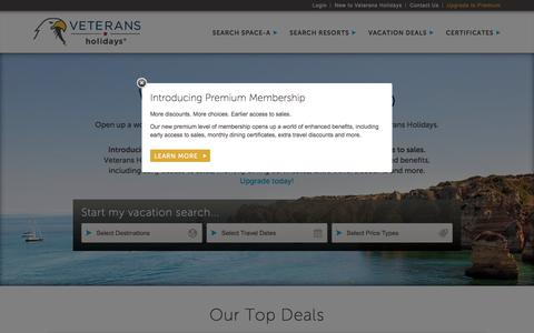 Screenshot of Home Page veteransholidays.com - Veterans Vacation Deals for families | Veterans Holidays - captured April 2, 2016
