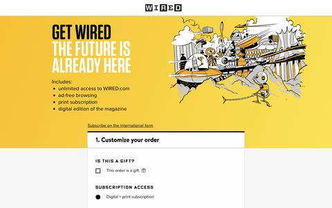 Screenshot of Landing Page wired.com - WIRED Magazine Subscription - captured Sept. 19, 2018