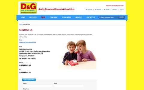 Screenshot of Contact Page dg-educational.com - D&G Educational | Educational Supplies | Contact Us - captured Oct. 1, 2014