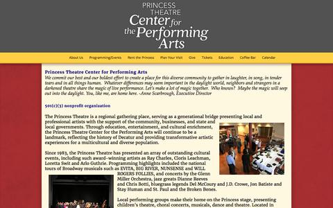 Screenshot of About Page princesstheatre.org - About Us - Princess Theatre: Center For The Performing Arts - captured Aug. 31, 2017