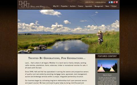 Screenshot of Home Page hallhall.com - Ranches For Sale, Farms and Investment Property | Hall and Hall - captured Sept. 19, 2014