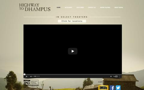 Screenshot of Home Page highwaytodhampus.com - Highway to Dhampus Movie - captured Sept. 25, 2015