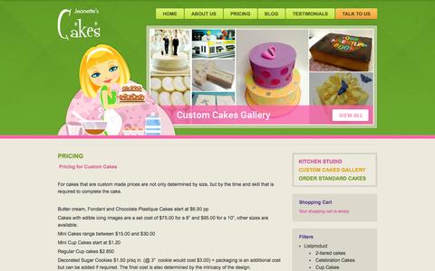 Screenshot of Pricing Page jeanettescakes.com - Pricing - Jeanettes Cakes - captured Aug. 7, 2016