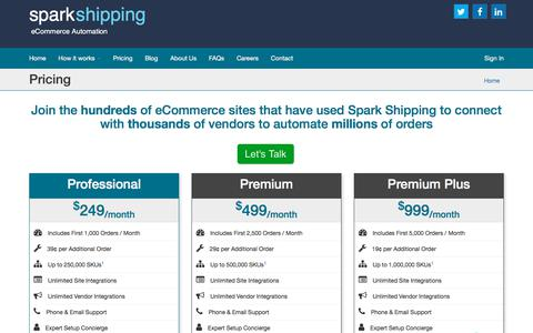 Screenshot of Pricing Page sparkshipping.com - Pricing  - Spark Shipping - captured July 12, 2019