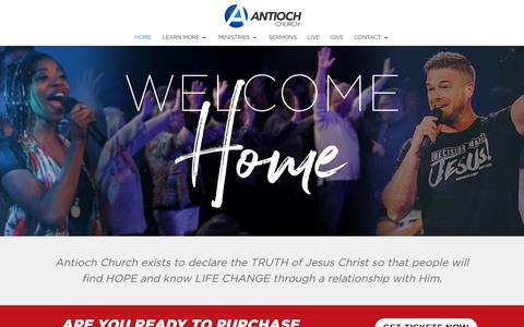 Screenshot of Home Page antiochchurch.com - Home - Antioch Church - captured Nov. 6, 2018