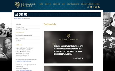Screenshot of About Page Testimonials Page brigancebrigade.org - Testimonials | Brigance Brigade - captured Nov. 23, 2016