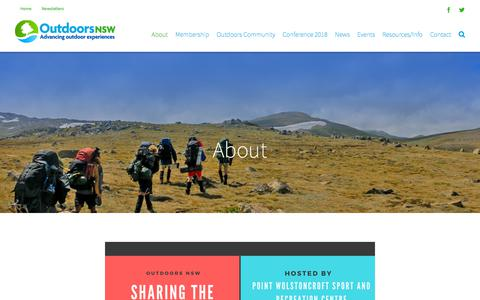 Screenshot of About Page outdoorsnsw.org.au - About Outdoors NSW, the peak body for the outdoors in NSW. - captured July 7, 2018