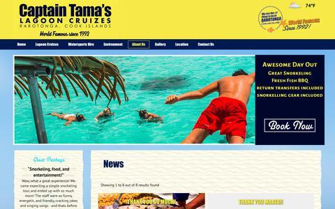 Screenshot of Press Page captaintamas.com - News for Captain Tama`s Lagoon Cruizes - Rarotonga Tours / Activities Cook Islands Attractions - captured Sept. 26, 2018