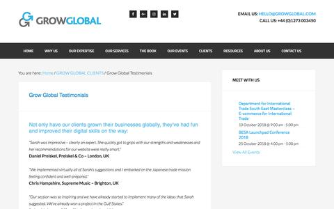 Screenshot of Testimonials Page growglobal.com - Grow Global Testimonials - GROW GLOBAL - captured July 25, 2018