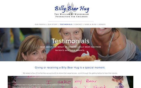 Screenshot of Testimonials Page billybearhug.org - Testimonials — Billy Bear Hug - captured Nov. 22, 2016