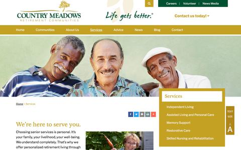 Screenshot of Services Page countrymeadows.com - Services | Country Meadows Retirement Communities - captured July 21, 2018