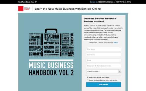 Screenshot of Landing Page berklee.edu - Download Berklee's Free Music Business Handbook - Berklee Online - captured April 11, 2016