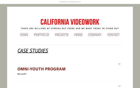 Screenshot of Case Studies Page californiavideowork.com - Quality Video Production - Case Studies - captured July 10, 2016