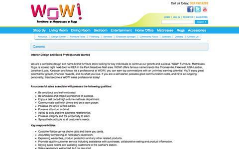 Screenshot of Jobs Page nowatwow.com - Furniture Store Near Denver (Centennial) Colorado - WOW: Living Room, Dining Room, Bedroom & Home Office Furniture - Mattresses, Rugs & Accessories - captured Oct. 7, 2014