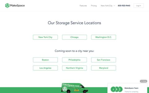 Screenshot of Locations Page makespace.com - Storage Locations - NYC, Chicago, and DC   MakeSpace - captured April 2, 2016