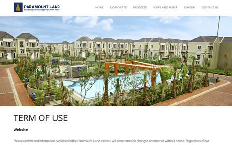 Screenshot of Terms Page paramount-land.com - TERMS OF USE - Paramount Land - captured Oct. 20, 2016