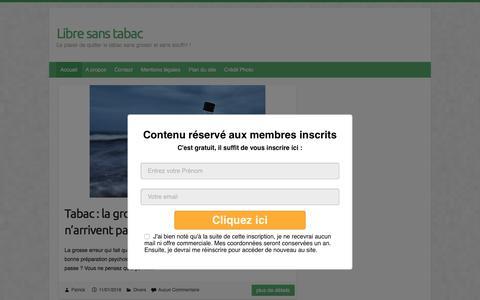Screenshot of Home Page libre-sans-tabac.fr - Libre sans tabac | Le plaisir de quitter le tabac sans grossir et sans souffrir ! - captured July 5, 2018