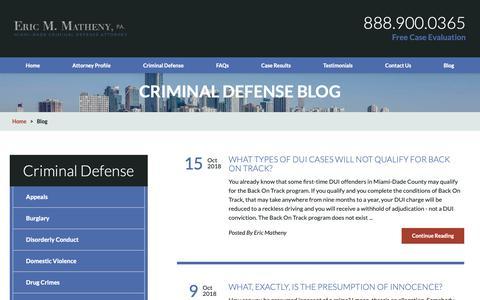 Screenshot of Blog ericmathenylaw.com - Miami Dade County Criminal Defense Lawyer | South Florida Criminal Defense Lawyer Blog - captured Oct. 20, 2018
