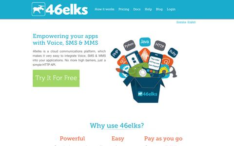 Screenshot of Home Page 46elks.com - 46elks.com - Empower your apps with Voice, SMS & MMS - captured Sept. 10, 2014