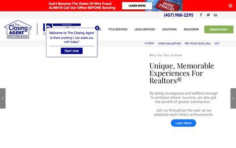 Screenshot of Home Page theclosingagent.com - THE CLOSING AGENT   ORLANDO TITLE COMPANY & AGENCY - captured Aug. 21, 2019