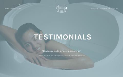 Screenshot of Testimonials Page floataway.com - Testimonials — Floataway - captured June 6, 2017