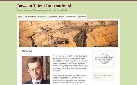 Screenshot of About Page dawsontalentinternational.com - About us | Dawson Talent International - captured Oct. 5, 2014