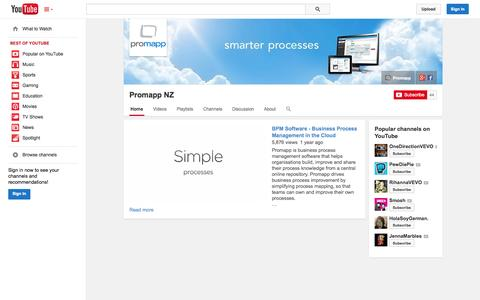 Screenshot of YouTube Page youtube.com - Promapp NZ  - YouTube - captured Oct. 23, 2014