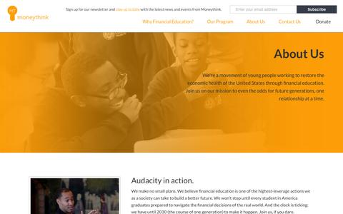 Screenshot of About Page moneythink.org - About Us | Moneythink : Moneythink - captured June 17, 2015