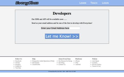 Screenshot of Developers Page everyclass.com - Every Class: Developers - captured Oct. 27, 2014