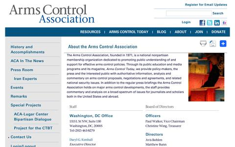 Screenshot of About Page armscontrol.org - About the Arms Control Association | Arms Control Association - captured Aug. 27, 2016