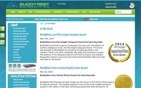 Screenshot of Press Page buddyrest.com - BuddyRest - IN THE NEWS - captured Oct. 5, 2014